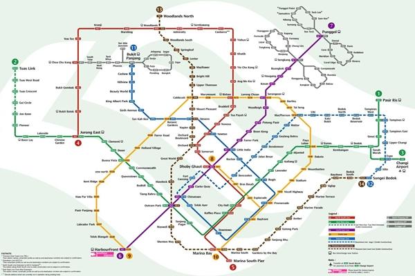 Bản đồ hệ thống MRT tại Singapore